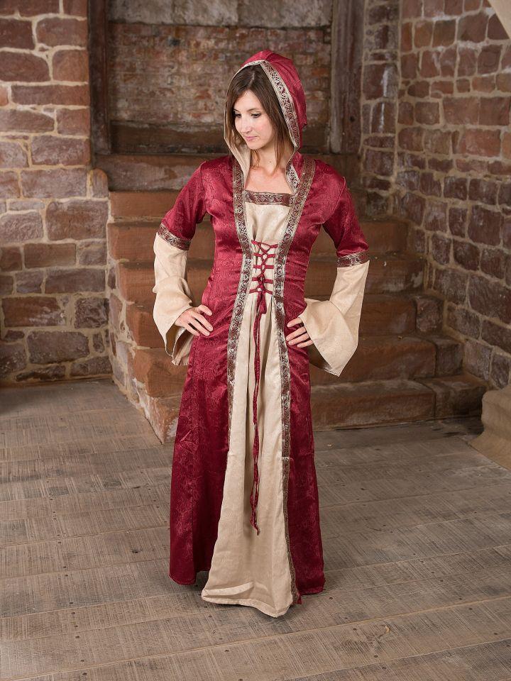 Mittelalterkleid mit Kapuze in rot-natur S/M 3