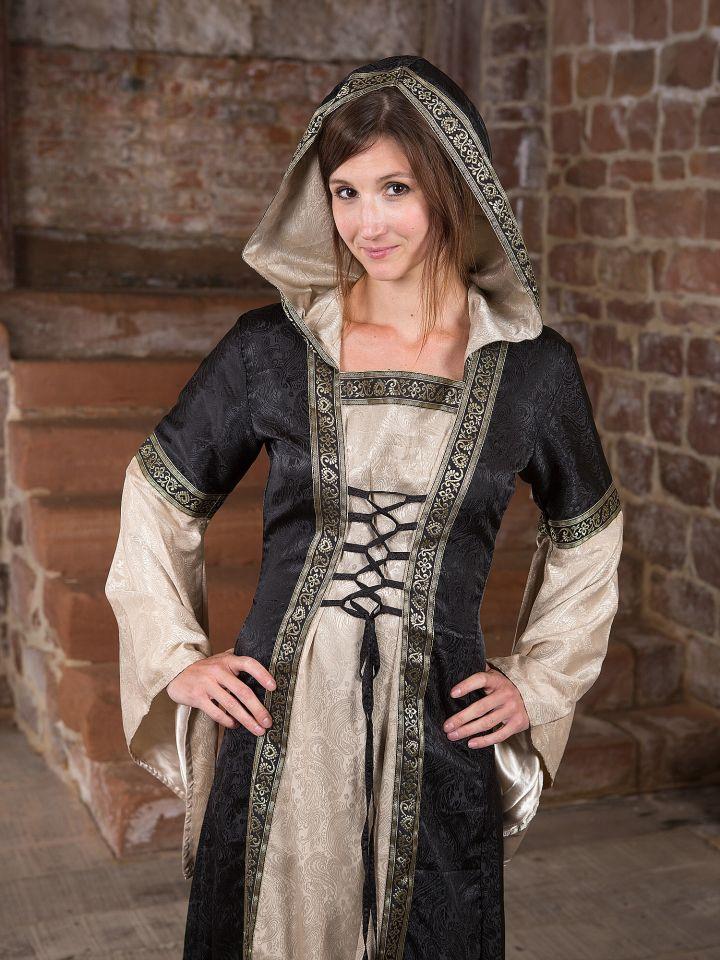 Mittelalterkleid mit Kapuze in schwarz-natur 3