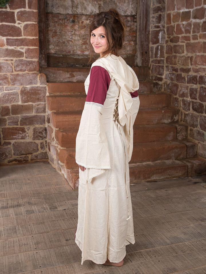Kleid mit Kapuze - natur-bordeaux 3