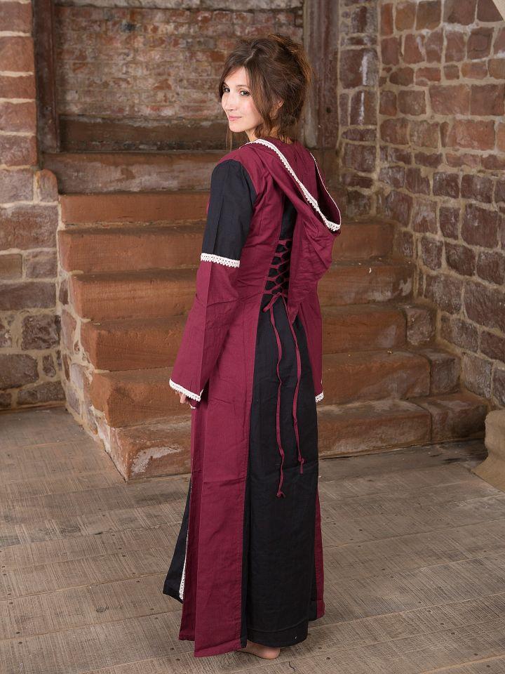 Kleid mit Kapuze - schwarz-bordeaux 3