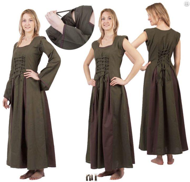 Mittelalterkleid Alina olive-braun 3