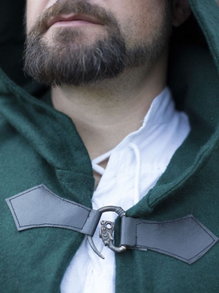 Wollumhang mit Drachenspange grün 131 cm 3