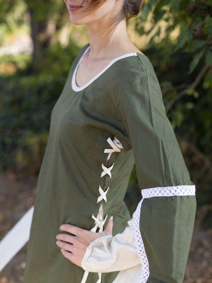 Mittelalterkleid mit Schleppärmeln grün-natur 3