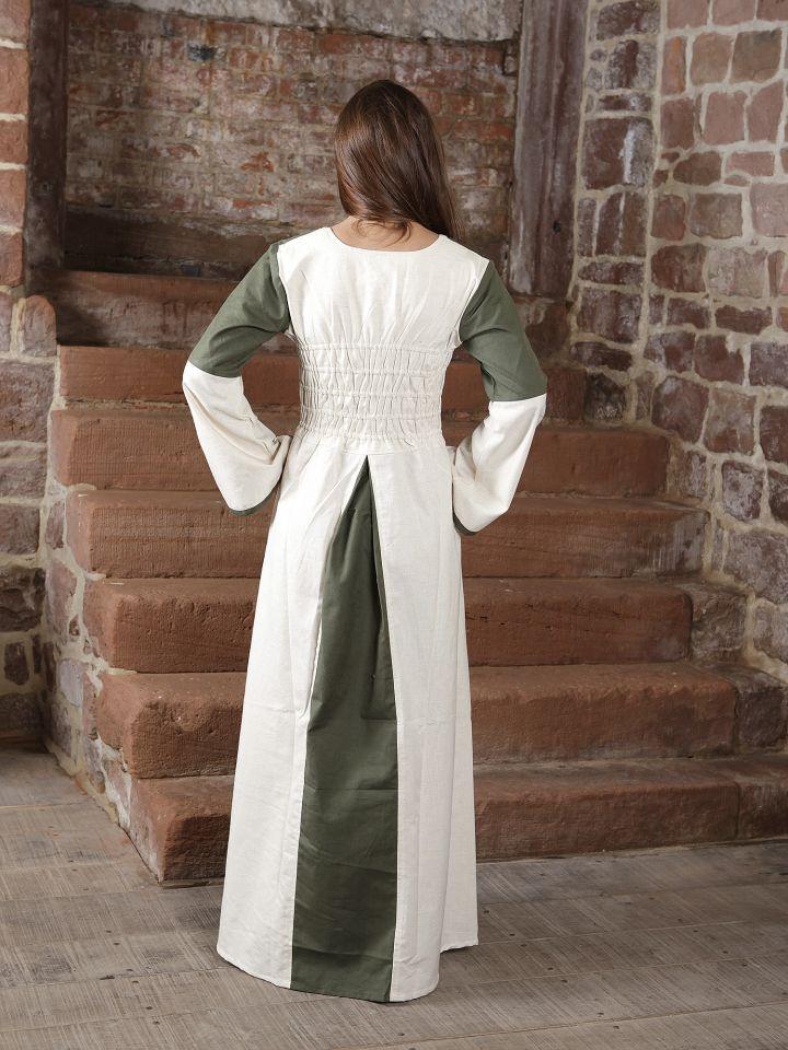 Kleid zweifarbig mit Schnürung in natur-olive 3
