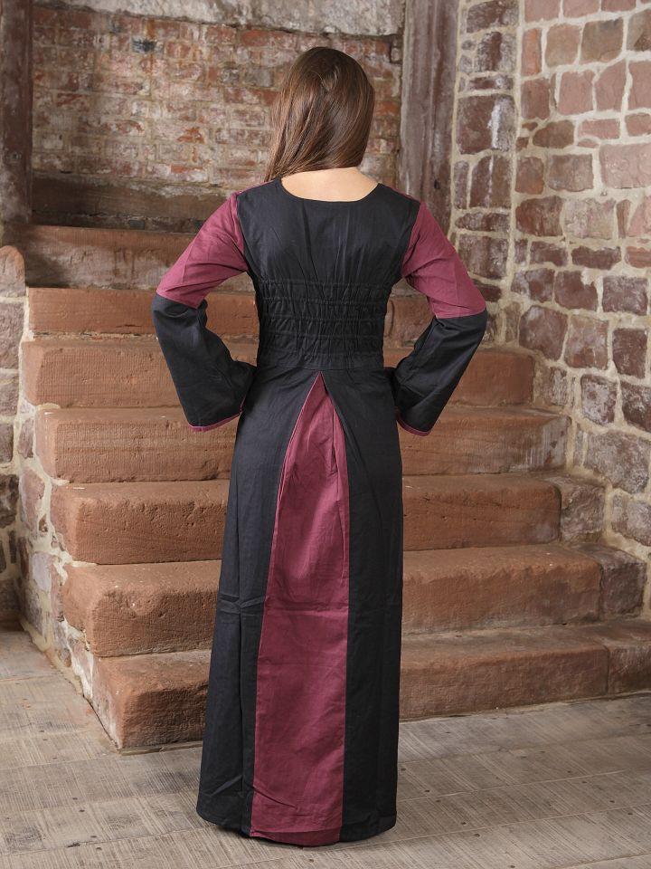 Kleid zweifarbig mit Schnürung in schwarz-bordeaux 3