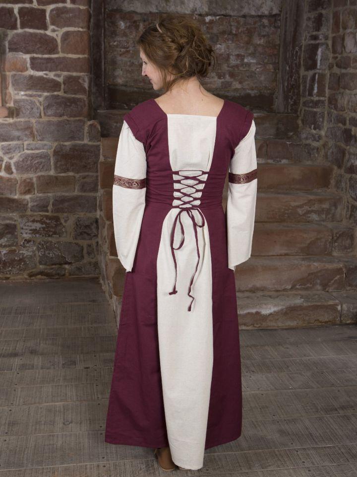 Mittelalterkleid mit abnehmbaren Ärmeln rot-natur 3