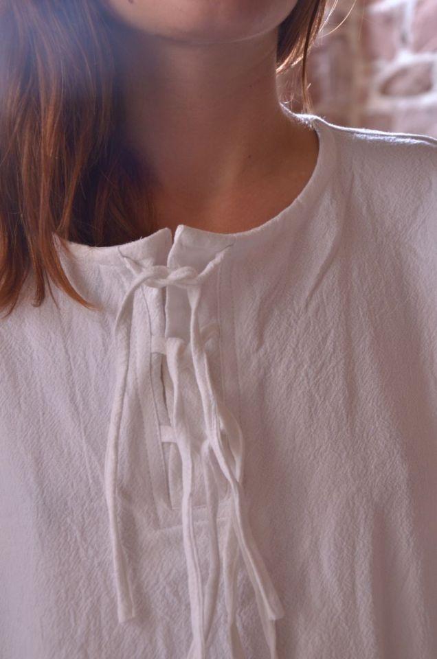 Bluse mit langen Ärmeln weiß M 3