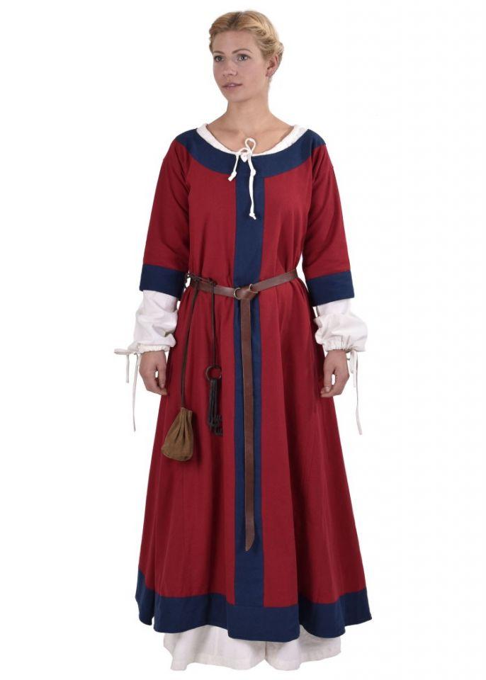 Mittelalterkleid Radegundis rot-blau 3