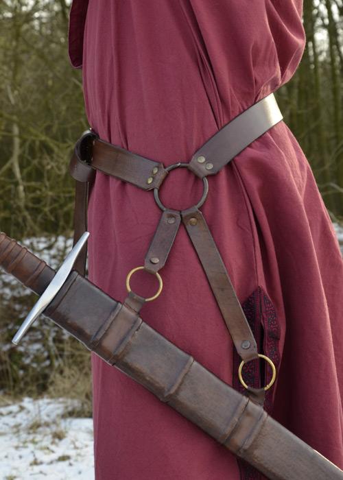 Schwertgürtel aus braunem Leder 3