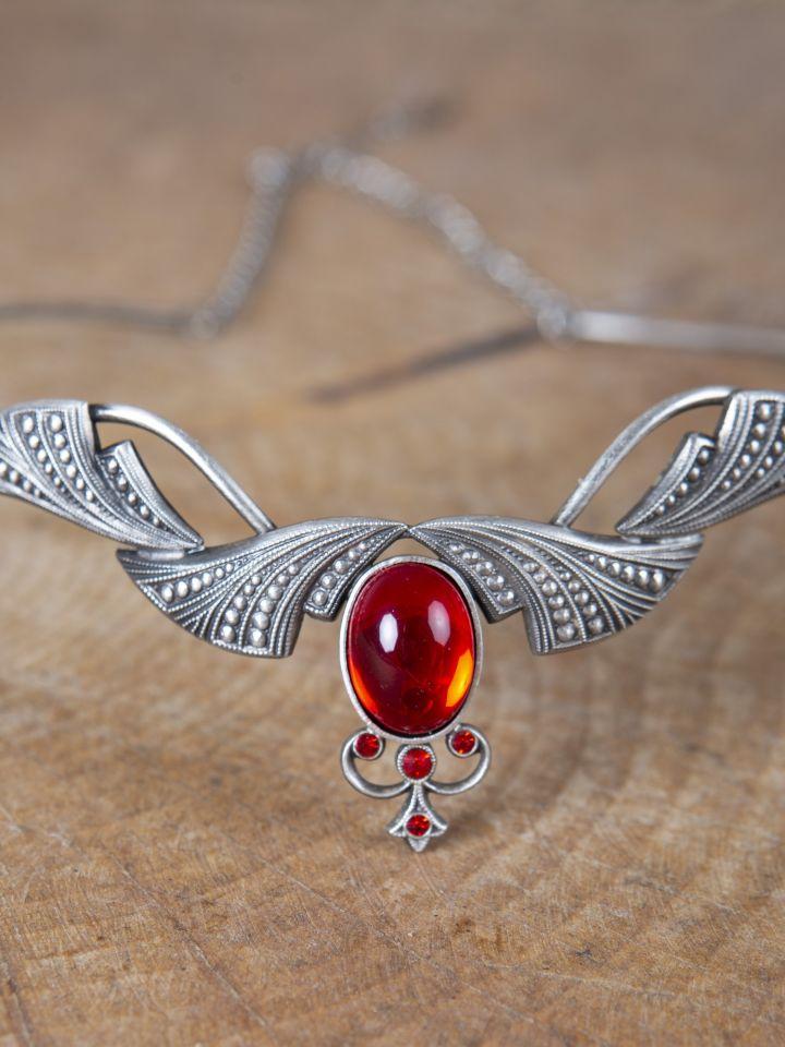 Edle Tiara mit Krönchen und rotem Stein 3