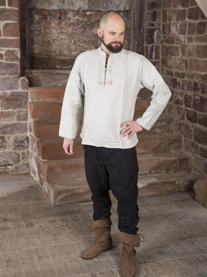 Winterhemd - Stehkragenhemd grau meliert M 3