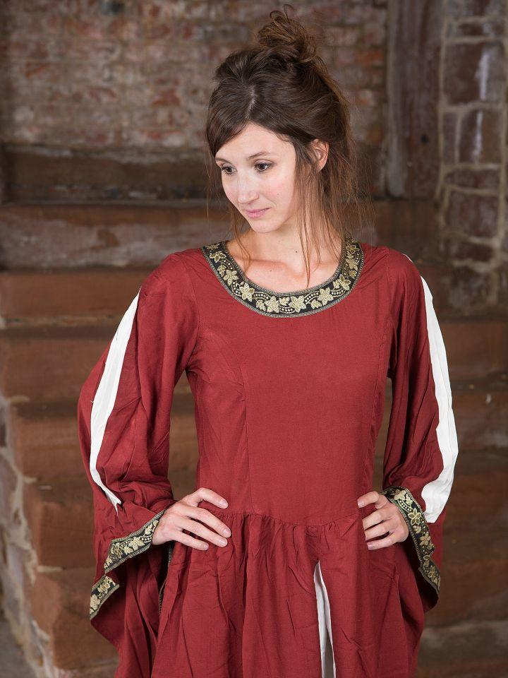 Edles Kleid mit Bordüre rot-natur 2