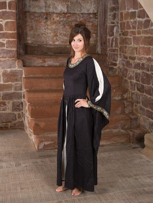 Edles Kleid mit Bordüre schwarz-natur 3