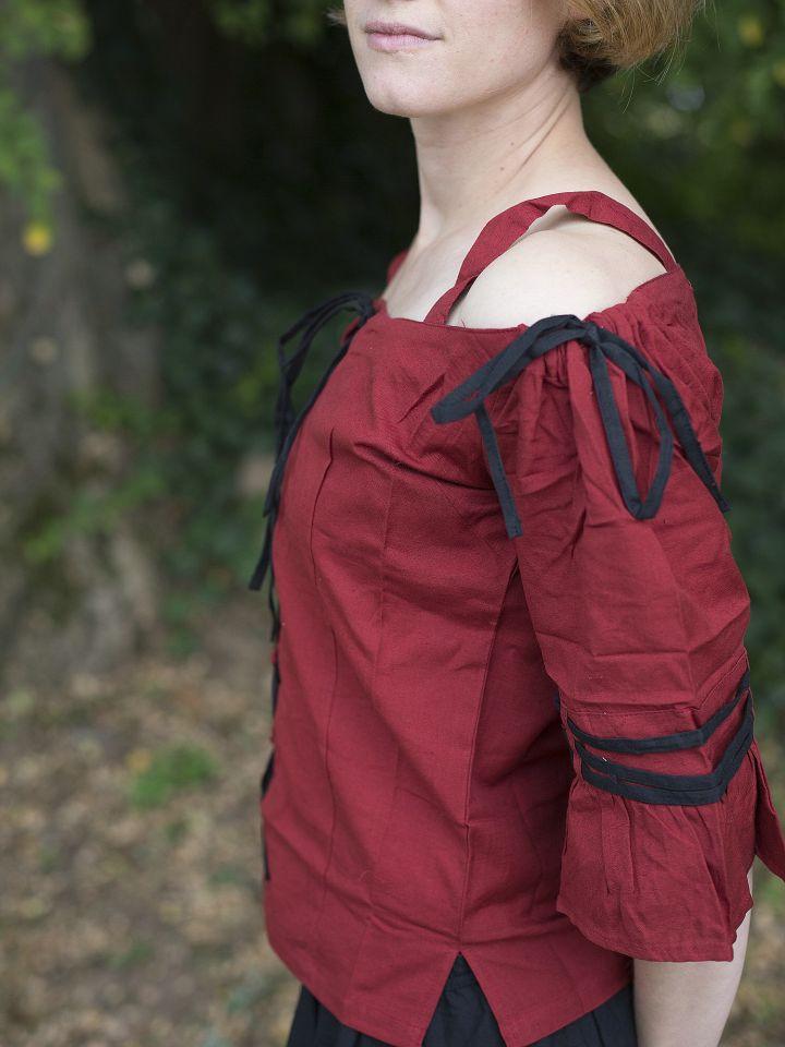 Bluse mit verstellbaren Trägern, rot-schwarz 3