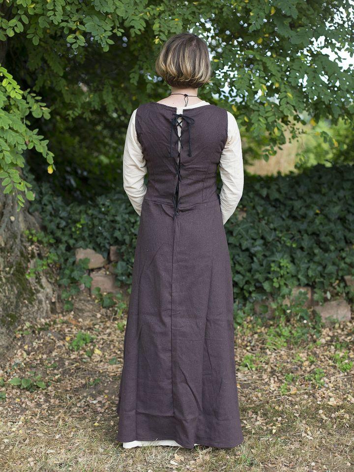 Ärmelloses Trägerkleid aus Canvas braun 3