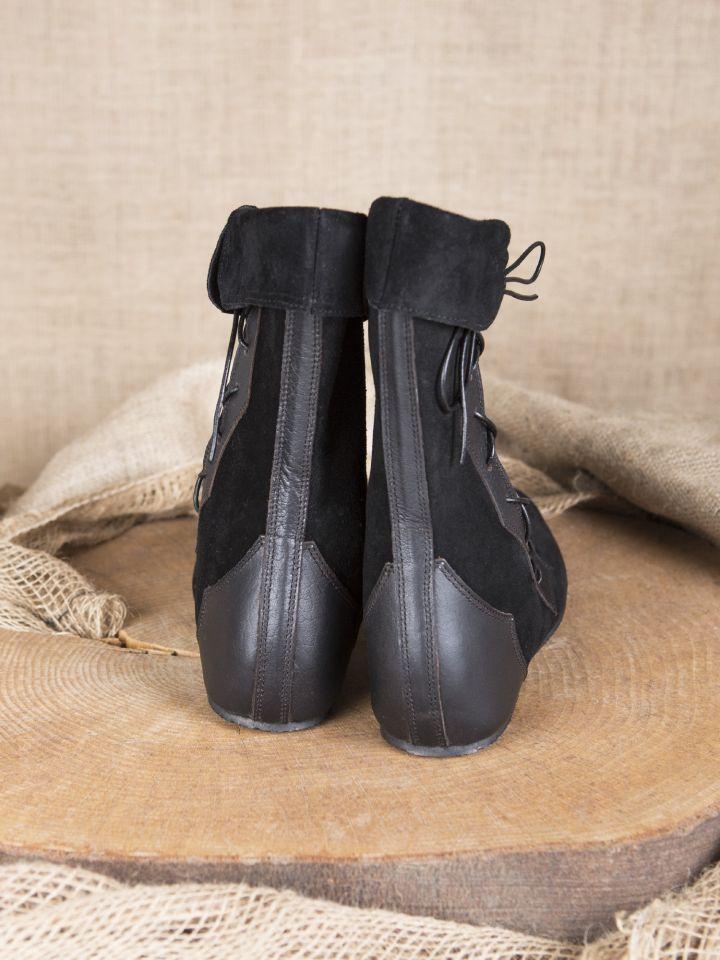 Mittelalter Stiefel mit Seitenschnürung schwarz 3