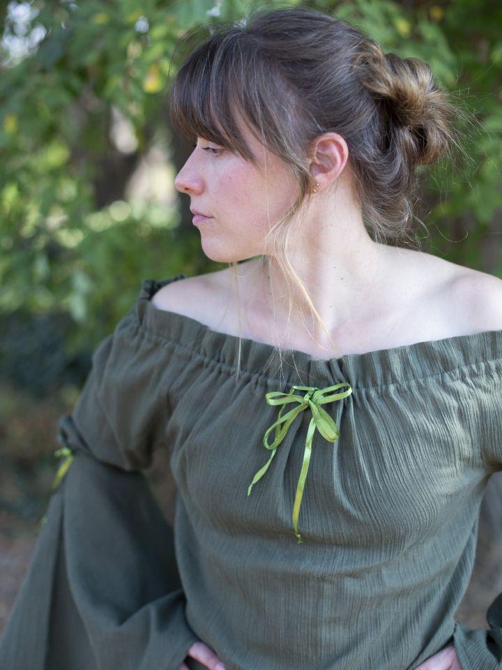 Mittelalterbluse mit Trompetenärmeln olivgrün 3