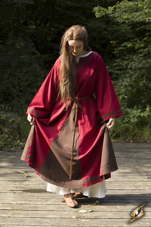 Kleid Astrid rot-braun 3