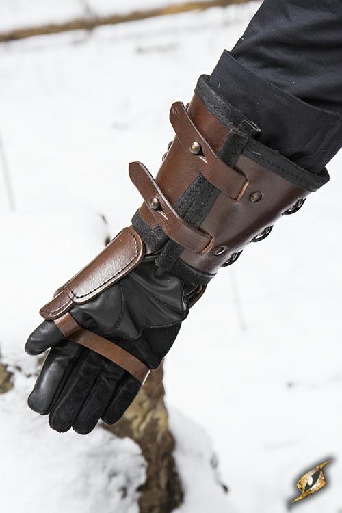 Brauner Panzerhandschuh aus Leder 3