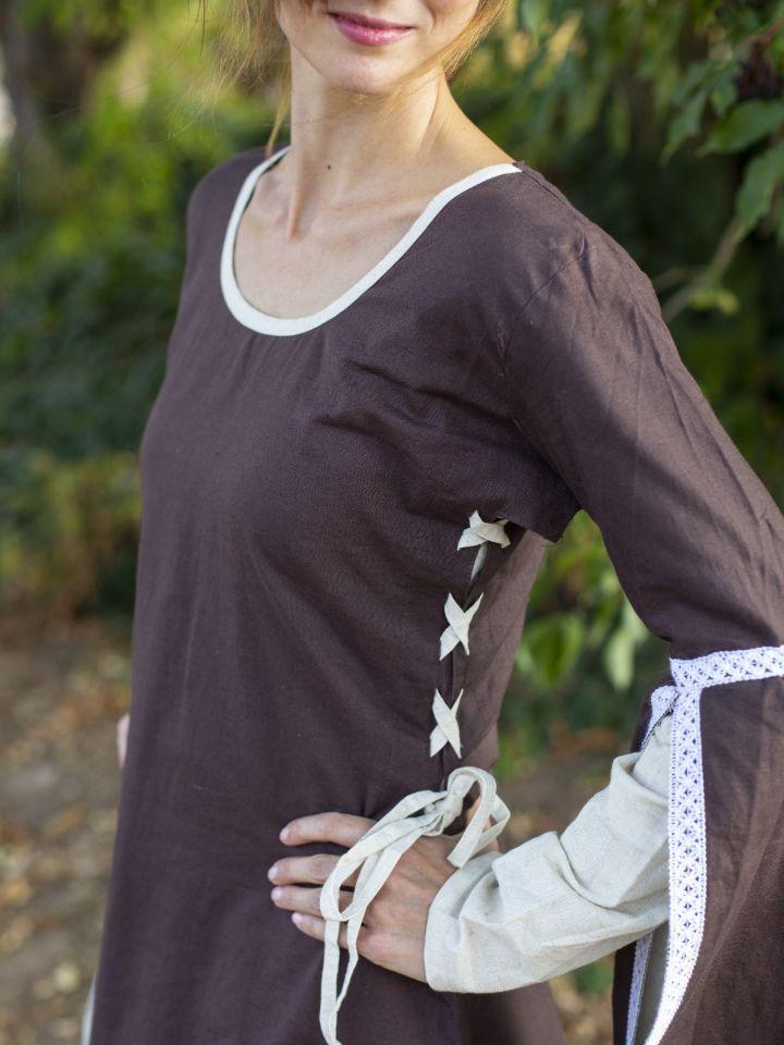 Mittelalterkleid mit Schleppärmeln braun-natur 3