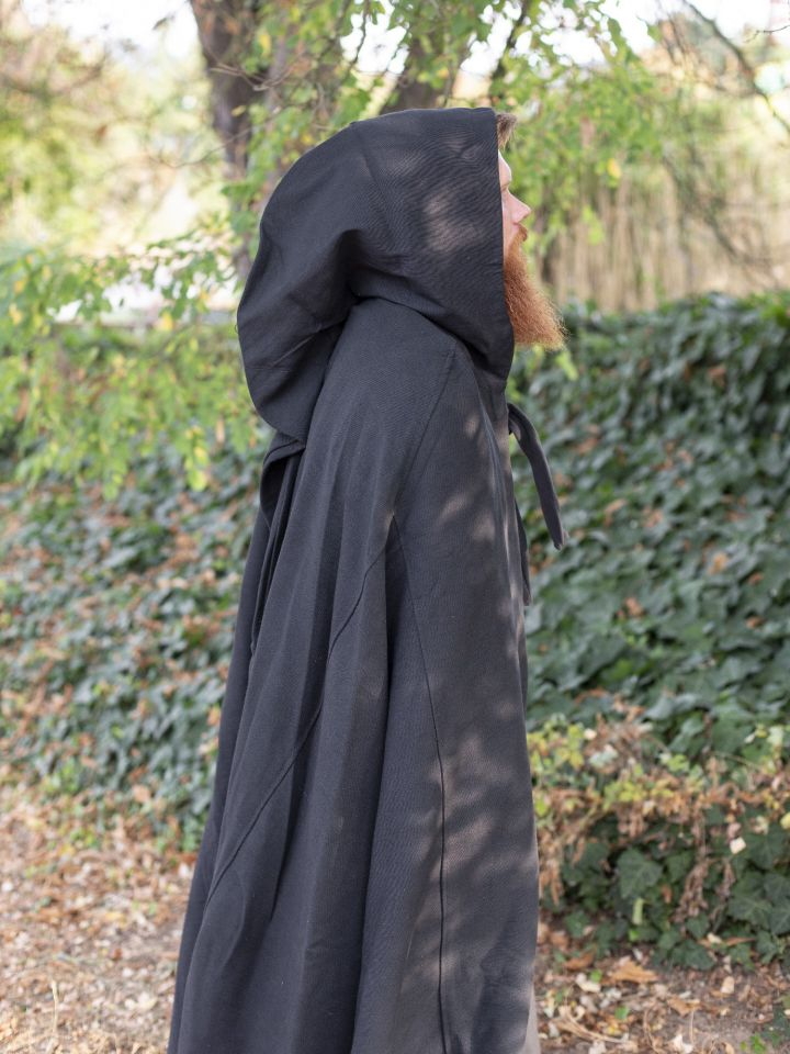 Kapuzenumhang aus Baumwolle schwarz 3