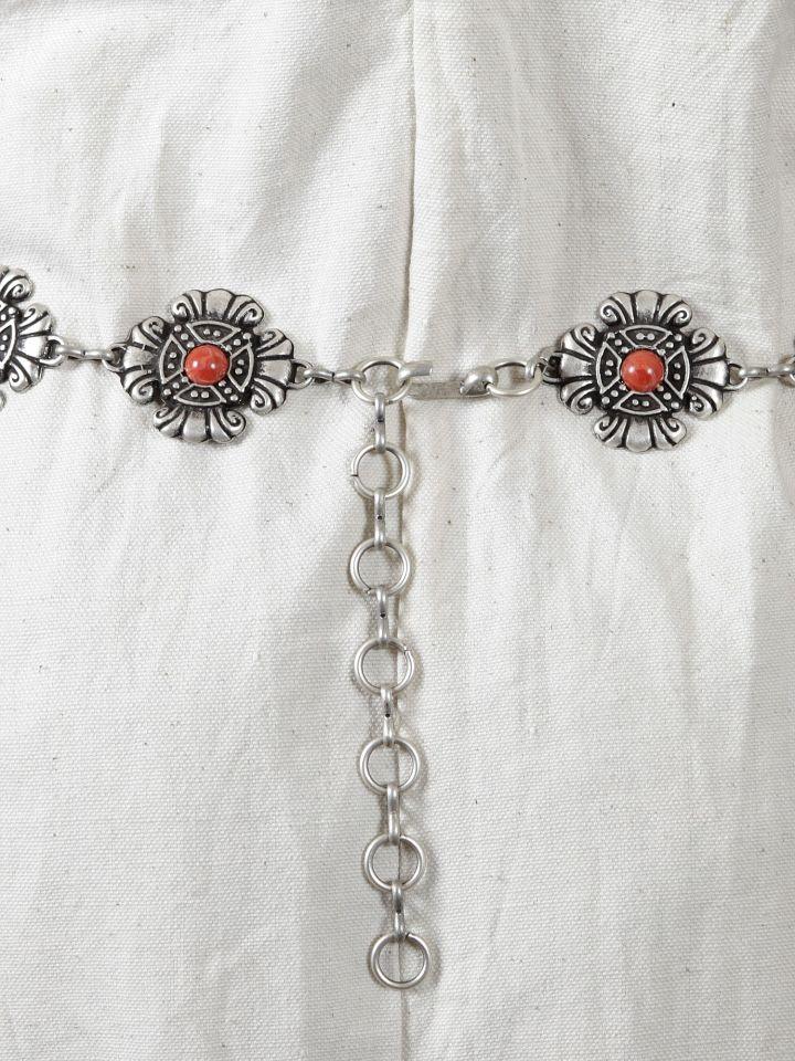 Kettengürtel - Y-Gürtel mit roter Perle 3