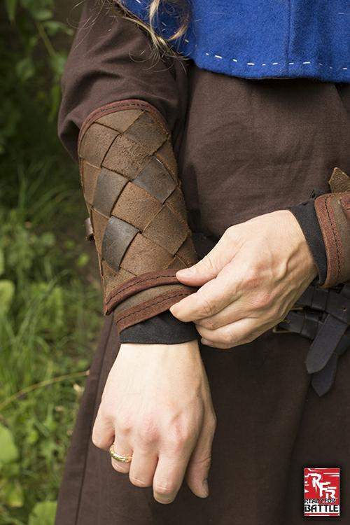 Wikinger-Armschienen aus Leder braun 3