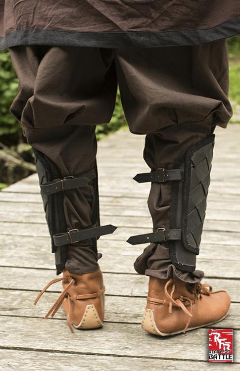 Wikinger-Beinschienen aus Leder schwarz 3