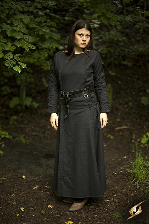 Kleid mit Schnürung schwarz 3