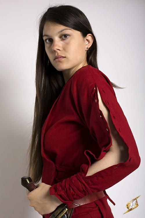 Kleid mit Schnürung rot 3