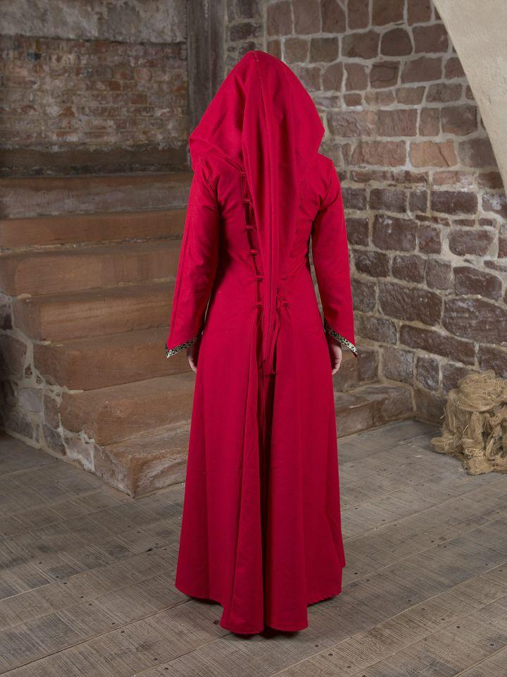 Mittelalterkleid Gwenhwyfar schwarz-rot 3