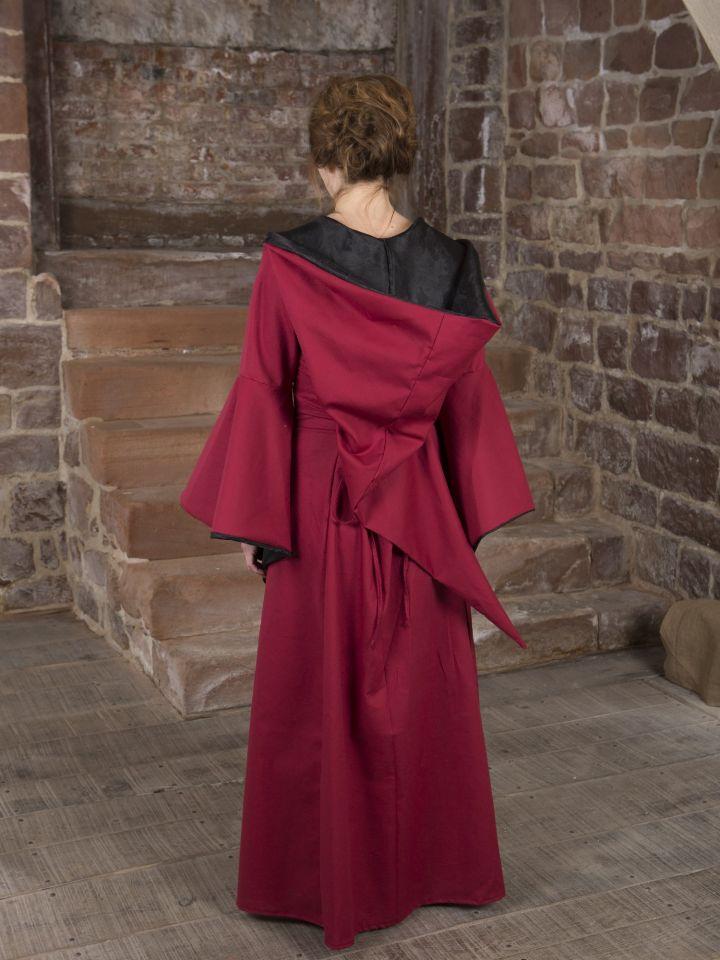 Mittelalterkleid Evanna schwarz-rot 3