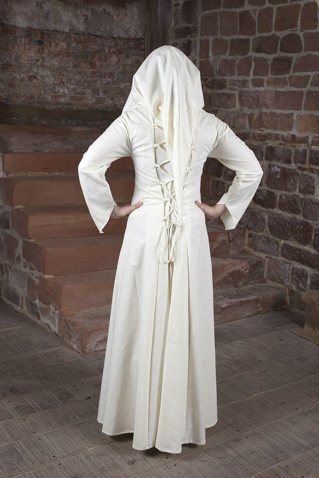 Mittelalterkleid Luna weiß mit schwarzem Mittelteil 3