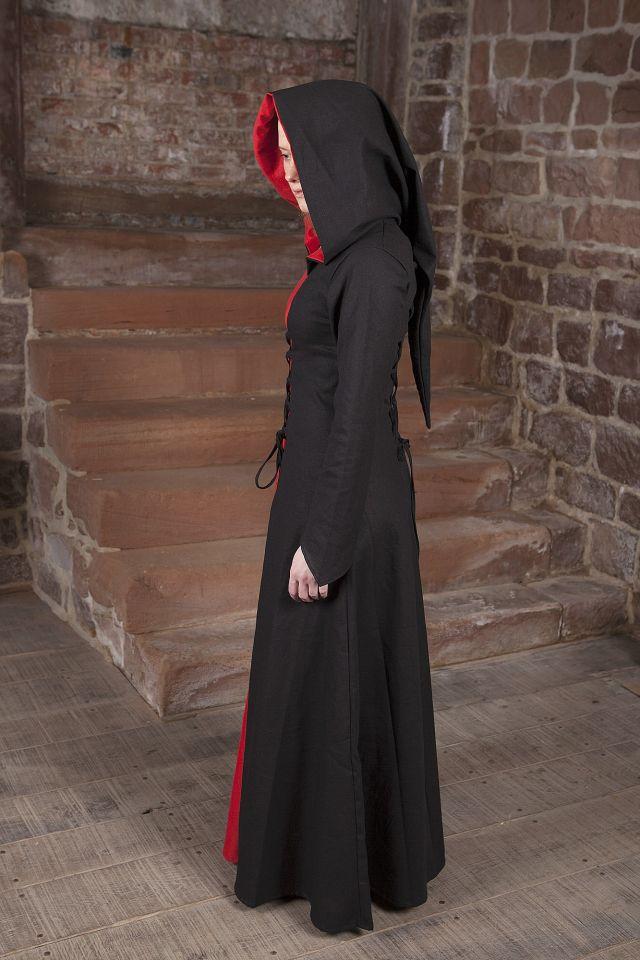 Mittelalterkleid Luna schwarz-rot 2