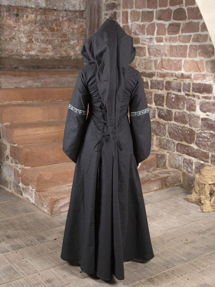 Mittelalterkleid Brida in schwarz-weiß 3