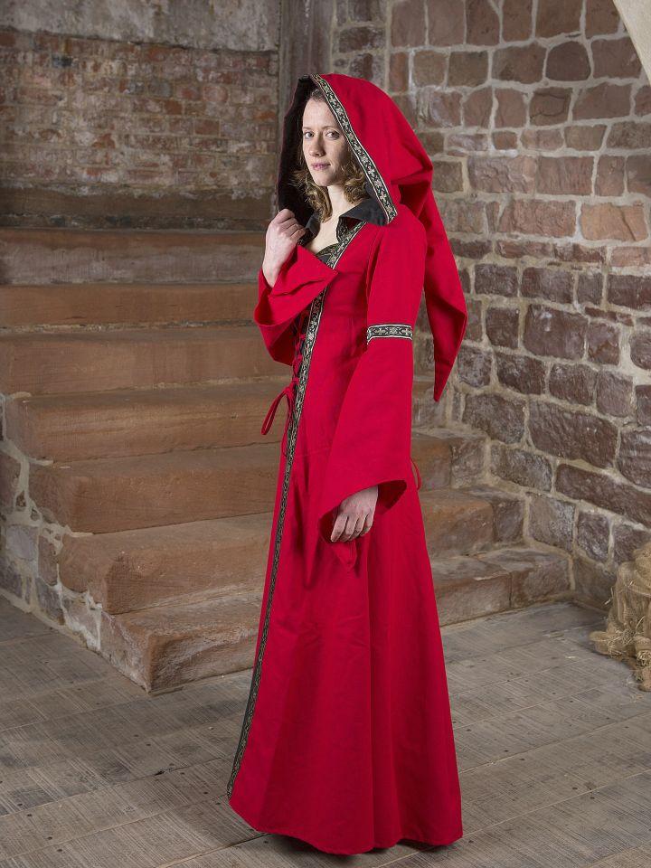 Mittelalterkleid Brida rot-schwarz 3