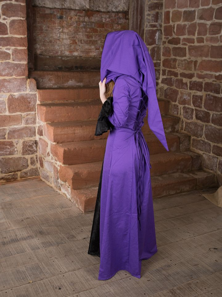 Mittelalterkleid Clara, schwarz-lila 3