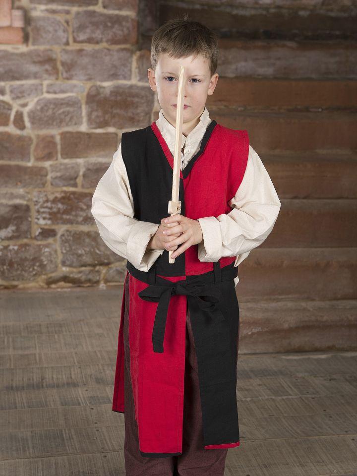 Kinder-Waffenrock mit Bindegürtel rot-schwarz 3