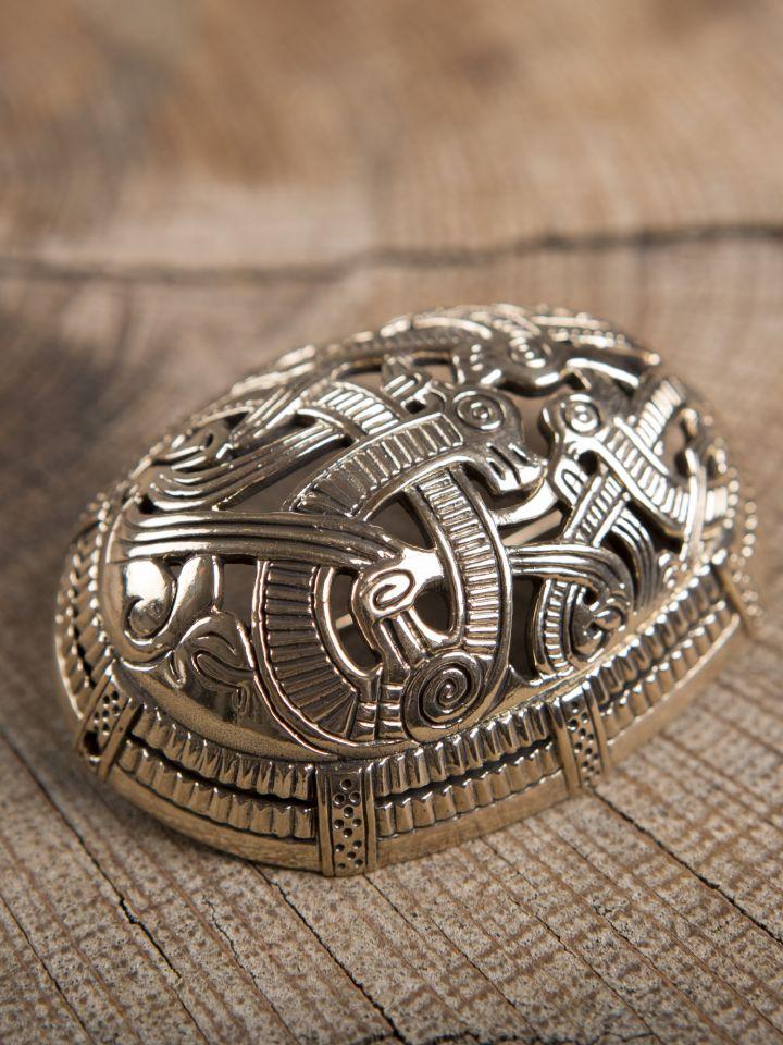 Große Ovalfibel mit Drache aus Bronze 3