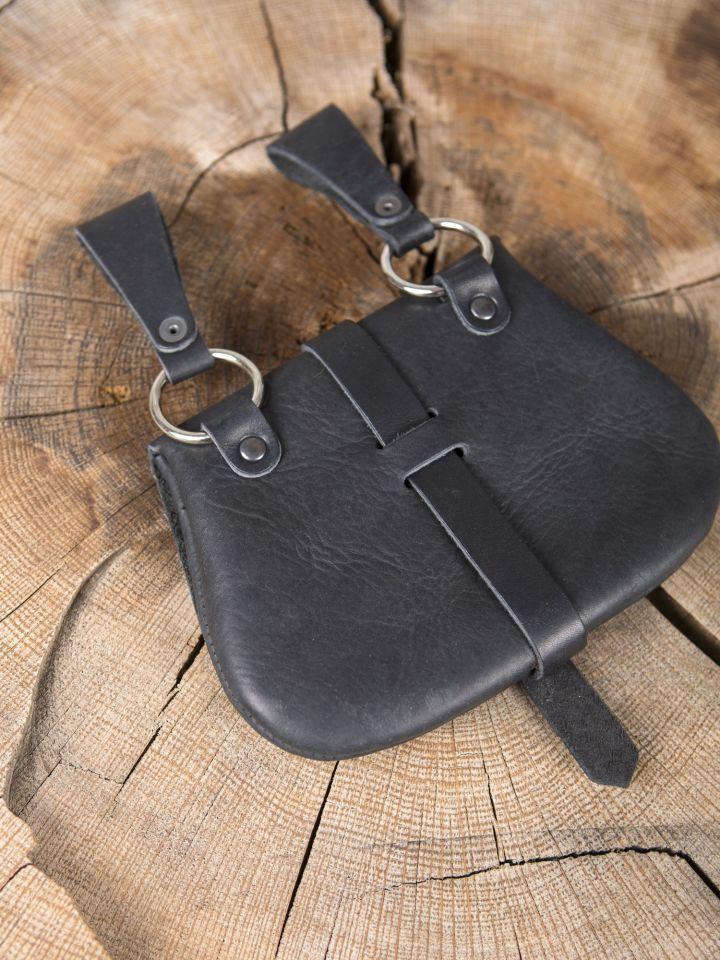 Frühmittelaltertasche mit Beschlägen schwarz 4