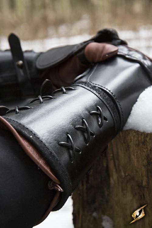 Schwarzer Panzerhandschuh aus Leder für die linke Hand 4