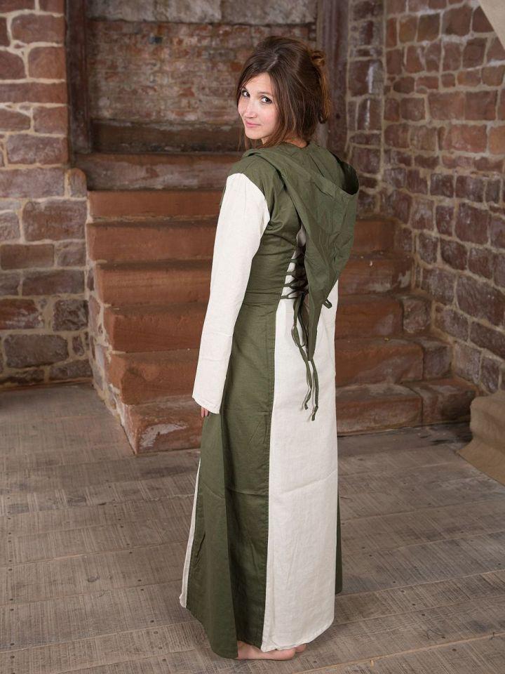 Mittelalterkleid mit Kapuze in natur-oliv L/XL 4