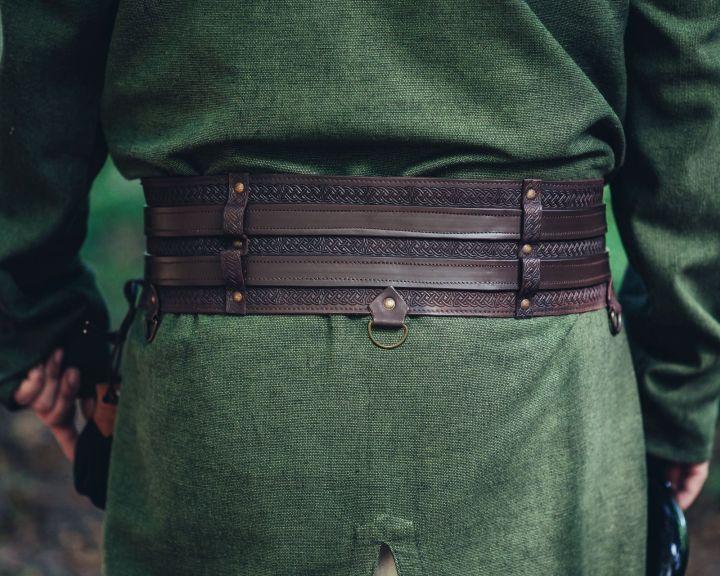 Wikingergürtel mit Prägung dunkelbraun 120 cm 4