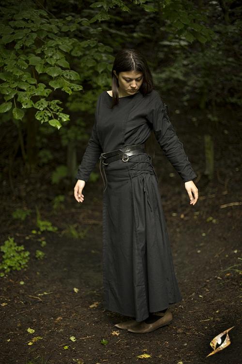 Kleid mit Schnürung schwarz S 4