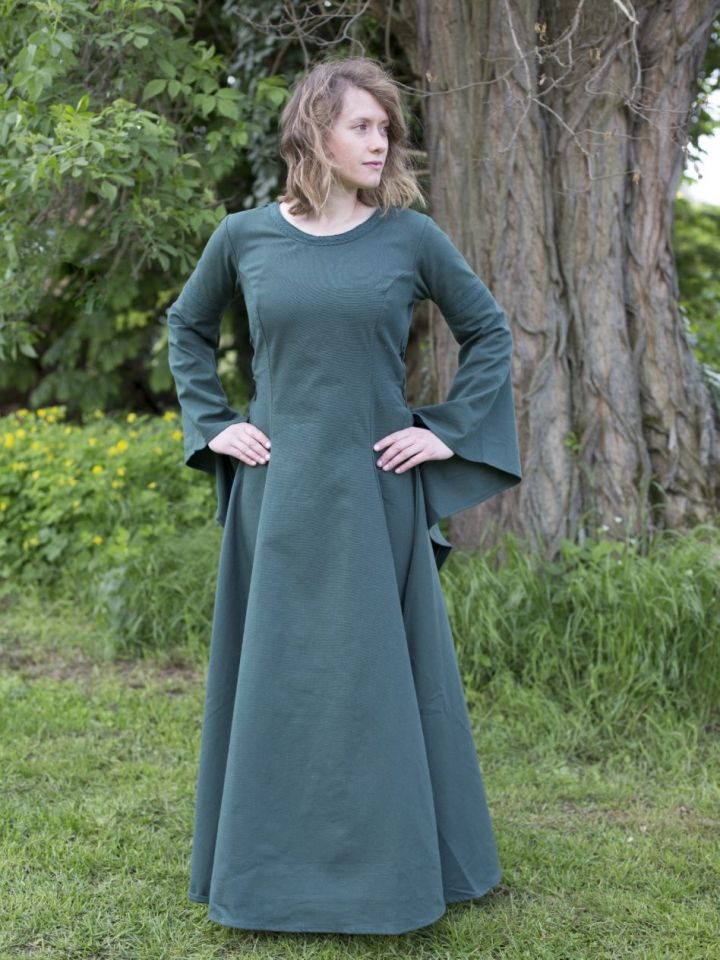 Edles Kleid mit Trompetenärmeln grün L 4