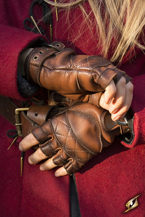 Keltische Lederhandschuhe braun S 4