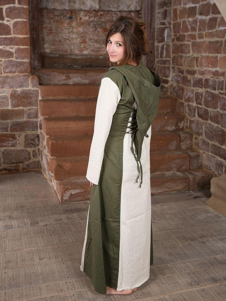 Mittelalterkleid mit Kapuze in natur-oliv 4