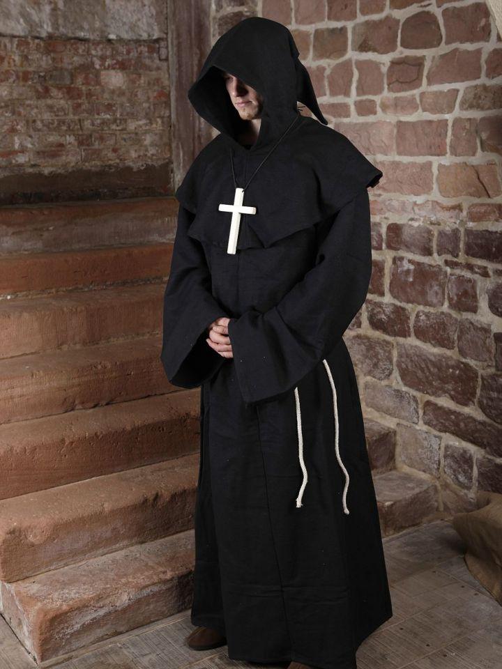Mönchskutte (mit Kapuze und Seil) schwarz | ohne Kreuz 4