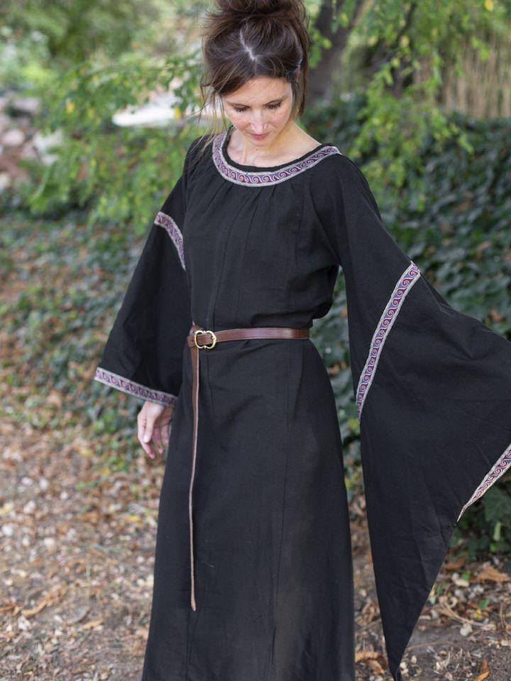 Mittelalterkleid mit Bordüre schwarz 4