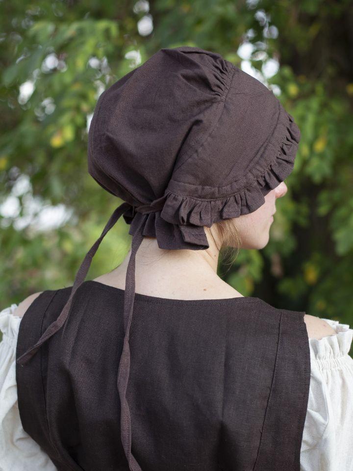 Damenhaube mit Rüsche braun 4
